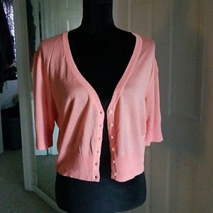 NWT CORAL CROPPED CARDIGAN